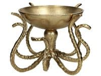 Octopus Display Bowl in Antique Gold Finish